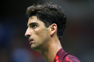 September 5, 2015 - Thomaz Bellucci in action against Andy Murray (not pictured) in a men's singles third-round match mduring the 2015 US Open at the USTA Billie Jean King National Tennis Center in Flushing, NY. (USTA/Ned Dishman)