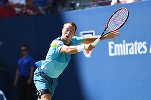 September 5, 2015 - Philipp Kohlschreiber in action in a men's singles third-round match against Roger Federer during the 2015 US Open at the USTA Billie Jean King National Tennis Center in Flushing, NY. (USTA/Pete Staples)