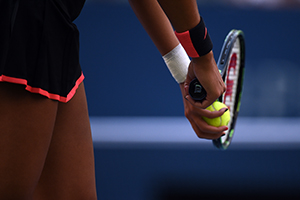 September 6, 2015 - Madison Keys in action in a women's singles fourth-round match against Serena Williams during the 2015 US Open at the USTA Billie Jean King National Tennis Center in Flushing, NY. (USTA/Andrew Ong)