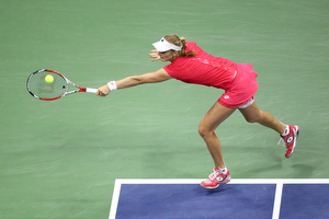 September 6, 2015 - Ekaterina Makarova in action against Kristina Mladenovic (not pictured) in a women's singles fourth-round match during the 2015 US Open at the USTA Billie Jean King National Tennis Center in Flushing, NY. (USTA/Ned Dishman)