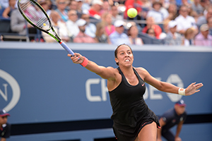September 6, 2015 - Madison Keys in action in a women's singles fourth-round match against Serena Williams during the 2015 US Open at the USTA Billie Jean King National Tennis Center in Flushing, NY. (USTA/Pete Staples)