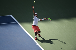 September 7, 2015 - Donald Young in action in a men's singles fourth-round match against Stan Wawrinka during the 2015 US Open at the USTA Billie Jean King National Tennis Center in Flushing, NY. (USTA/Andrew Ong)
