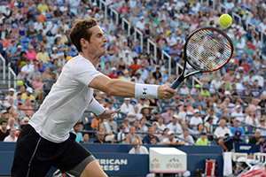 September 7, 2015 - Andy Murray in action against Kevin Anderson in a men's singles fourth-round match during the 2015 US Open at the USTA Billie Jean King National Tennis Center in Flushing, NY. (USTA/Garrett Ellwood)
