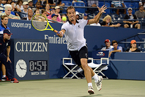 September 7, 2015 - Richard Gasquet in action against Tomas Berdych in a men's singles fourth-round match during the 2015 US Open at the USTA Billie Jean King National Tennis Center in Flushing, NY. (USTA/Garrett Ellwood)