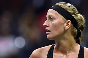 September 7, 2015 - Petra Kvitova in action against Johanna Konta in a women's singles fourth-round match during the 2015 US Open at the USTA Billie Jean King National Tennis Center in Flushing, NY. (USTA/Garrett Ellwood)
