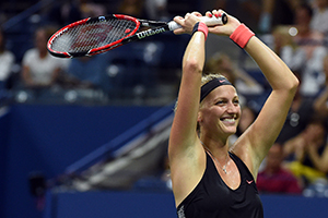 September 7, 2015 - Petra Kvitova celebrates against Johanna Konta in a women's singles fourth-round match during the 2015 US Open at the USTA Billie Jean King National Tennis Center in Flushing, NY. (USTA/Garrett Ellwood)