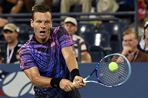 September 7, 2015 - Tomas Berdych in action against Richard Gasquet in a men's singles fourth-round match during the 2015 US Open at the USTA Billie Jean King National Tennis Center in Flushing, NY. (USTA/Garrett Ellwood)