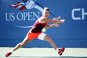 September 7, 2015 - Simona Halep in action in a women's singles fourth-round match against Sabine Lisicki during the 2015 US Open at the USTA Billie Jean King National Tennis Center in Flushing, NY. (USTA/Ned Dishman)