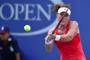 September 7, 2015 - Samantha Stosur in action against Flavia Pennetta (not pictured) in a women's singles fourth-round match during the 2015 US Open at the USTA Billie Jean King National Tennis Center in Flushing, NY. (USTA/Steven Ryan)