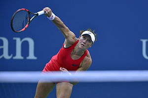 September 7, 2015 - Samantha Stosur in action in a women's singles fourth-round match against Flavia Pennetta during the 2015 US Open at the USTA Billie Jean King National Tennis Center in Flushing, NY. (USTA/Steven Ryan)