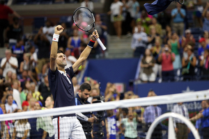 September 8, 2015 - Novak Djokovic reacts after a men's singles quarterfinal match against Feliciano Lopez (not pictured) during the 2015 US Open at the USTA Billie Jean King National Tennis Center in Flushing, NY. (USTA/Michael LeBrecht)