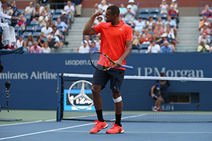 September 8, 2015 - Jo-Wilfried Tsonga in action against Marin Cilic in a men's singles quarterfinal match during the 2015 US Open at the USTA Billie Jean King National Tennis Center in Flushing, NY. (USTA/Michael LeBrecht)