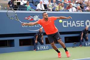 September 8, 2015 - Jo-Wilfried Tsonga in action against Marin Cilic in a men's singles quarterfinal match during the 2015 US Open at the USTA Billie Jean King National Tennis Center in Flushing, NY. (USTA/Pete Staples)