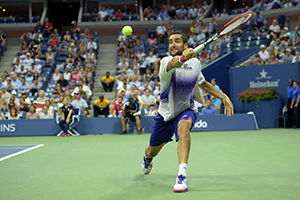 September 8, 2015 - Marin Cilic in action against Jo-Wilfried Tsonga in a men's singles quarterfinal match during the 2015 US Open at the USTA Billie Jean King National Tennis Center in Flushing, NY. (USTA/Pete Staples)