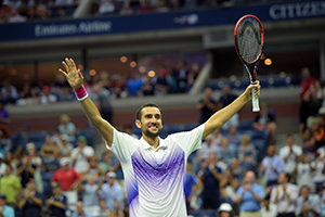 September 8, 2015 - Marin Cilic celebrates his win against Jo-Wilfried Tsonga in a men's singles quarterfinal match during the 2015 US Open at the USTA Billie Jean King National Tennis Center in Flushing, NY. (USTA/Pete Staples)