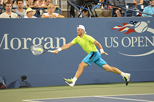 August 31, 2015 - Illya Marchenko in action in a Men's Singles - Round 1 match during the 2015 US Open at the USTA Billie Jean King National Tennis Center in Flushing, NY. (USTA/Garrett Ellwood)