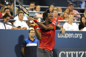 August 31, 2015 - Gael Monfils in action in a Men's Singles - Round 1 match during the 2015 US Open at the USTA Billie Jean King National Tennis Center in Flushing, NY. (USTA/Garrett Ellwood)