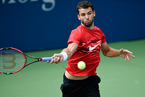 August 25, 2015 – Grigor Dimitrov practices for the 2015 US Open at the Billie Jean King National Tennis Center in Flushing, NY.