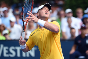 September 2, 2015 - Ricardas Berankis in action against David Goffin (not pictured) in a men's singles second round match during the 2015 US Open at the USTA Billie Jean King National Tennis Center in Flushing, NY. (USTA/Andrew Ong)