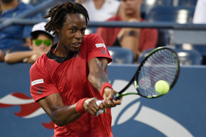 August 31, 2015 - Gael Monfils in action in a men's singles first round match against Illya Marchenkov during the 2015 US Open at the USTA Billie Jean King National Tennis Center in Flushing, NY. (USTA/Steven Ryan)