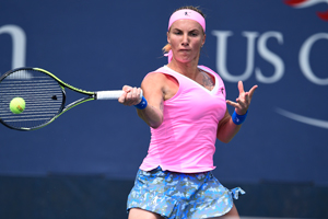 August 31, 2015 - Svetlana Kuznetsova in action against Kristina Mladenovic (not pictured) in a women's singles first round match during the 2015 US Open at the USTA Billie Jean King National Tennis Center in Flushing, NY. (USTA/Steven Ryan)