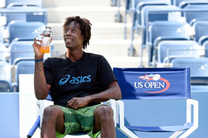 August 25, 2015 - Gael Monfils looks on during practice for the 2015 US Open at the USTA Billie Jean King National Tennis Center in Flushing, NY.