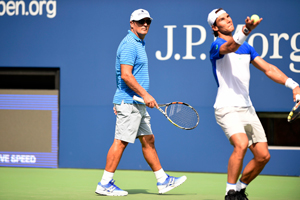 August 25, 2015 – Toni Nadal, left, looks on as Rafael Nadal practices for the 2015 US Open at the Billie Jean King National Tennis Center in Flushing, NY.