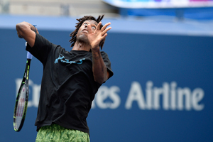 August 25, 2015 - Gael Monfils practices for the 2015 US Open at the USTA Billie Jean King National Tennis Center in Flushing, NY.