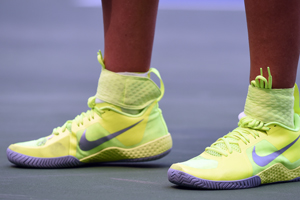September 7, 2015 - The shoes of Victoria Azarenka in action in a women's singles fourth-round match against Varvara Lepchenko during the 2015 US Open at the USTA Billie Jean King National Tennis Center in Flushing, NY. (USTA/Andrew Ong)